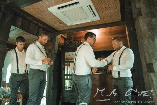 Groom and groomsmen getting ready for the Chiang Mai wedding in Thailand